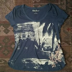 LUCKY BRAND embroidered palm tree t-shirt L